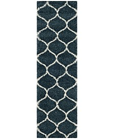 "Hudson Slate Blue and Ivory 2'3"" x 8' Runner Area Rug"