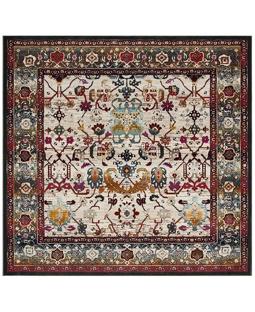 """Safavieh Baldwin Ivory and Anthracite 6'7"""" x 6'7"""" Square Area Rug"""