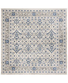 """Brentwood Light Gray and Blue 6'7"""" x 6'7"""" Square Area Rug"""