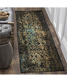 """Classic Vintage Black and Olive 2'3"""" x 8' Runner Area Rug"""