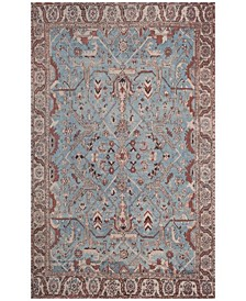Classic Vintage Blue and Red 5' x 8' Area Rug