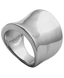 925 Sterling Silver Cool Plain Wide Front Design Band Ring