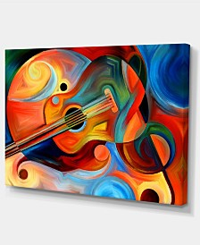 "Designart Music And Rhythm Abstract Canvas Art Print - 32"" X 16"""