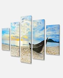 "Designart Calm Beach Panorama Photography Canvas Art Print - 60"" X 32"" - 5 Panels"