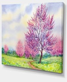 """Designart Purple Spring Landscape Floral Art Canvas Print - 40"""" X 30"""""""