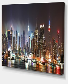 "Designart Lit Nyc Manhattan Skyline Cityscape Photo Canvas Print - 40"" X 30"""