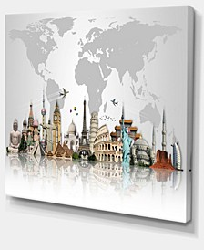 "Designart Famous Monuments Across World Canvas Art Print - 40"" X 30"""