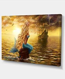 "Designart Sea Mermaid With Ghost Ship Seascape Canvas Art Print - 32"" X 16"""