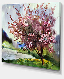 """Designart Tree With Spring Flowers Floral Art Canvas Print - 20"""" X 12"""""""