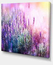"""Designart Growing And Blooming Lavender Floral Canvas Art Print - 20"""" X 12"""""""