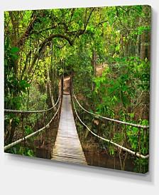 "Designart Bridge To Jungle Thailand Landscape Photo Canvas Art Print - 20"" X 12"""