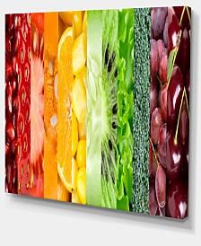 "Designart Fruits Berries And Vegie Collage Floral Art Canvas Print - 20"" X 12"""