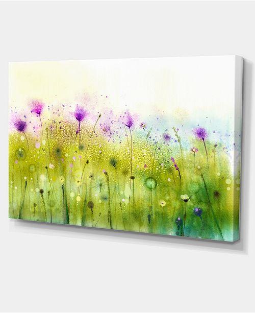 "Design Art Designart Green Purple Cosmos Of Flowers Large Flower Canvas Wall Art - 32"" X 16"""