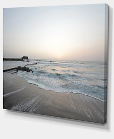 "Designart Serene Blue Beach With White Sun Modern Beach Canvas Art Print - 40"" X 30"""