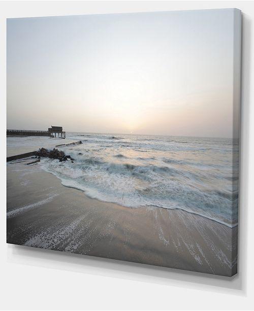 "Design Art Designart Serene Blue Beach With White Sun Modern Beach Canvas Art Print - 40"" X 30"""