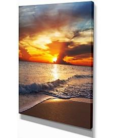 "Designart Yellow Sunset Over Gloomy Beach Modern Beach Canvas Art Print - 12"" X 20"""