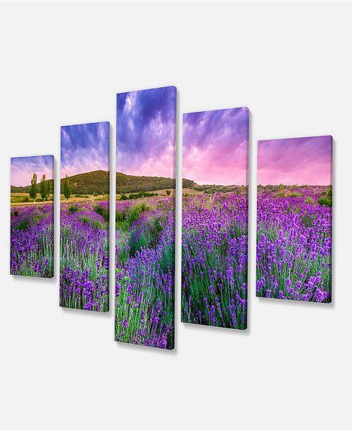 "Design Art Designart Summer Lavender Field In Tihany Modern Landscape Wall Art Canvas - 60"" X 32"" - 5 Panels"