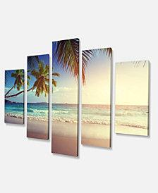 "Designart Typical Sunset On Seychelles Beach Extra Large Seascape Art Canvas - 60"" X 32"" - 5 Panels"