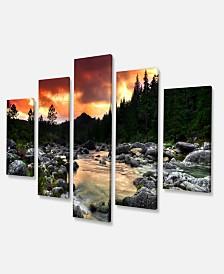 "Designart Rocky Mountain River At Sunset Extra Large Wall Art Landscape - 60"" X 32"" - 5 Panels"