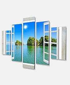 """Designart Open Window To Ocean Islets Oversized Landscape Wall Art Print - 60"""" X 32"""" - 5 Panels"""