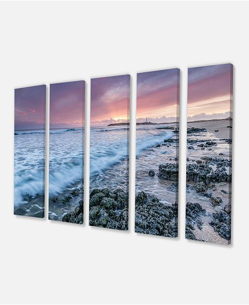 "Design Art Designart Sunset On Cape Trafalgar Beach Seascape Canvas Art Print - 60"" X 28"" - 5 Panels"