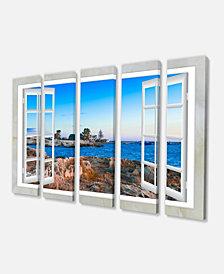 "Designart Open Window To Blue Oversized Landscape Wall Art Print - 60"" X 28"" - 5 Panels"