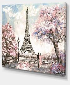 "Designart Eiffel With Pink Flowers Landscape Canvas Art Print - 20"" X 12"""