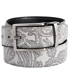 Tallia Men's Reversible Paisley Leather Belt