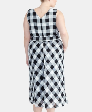 Rachel Rachel Roy Dresses TRENDY PLUS SIZE CHECKERED MIDI DRESS