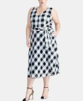 65757dbc056 RACHEL Rachel Roy Trendy Plus Size Checkered Midi Dress