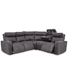 Oaklyn 5-Pc. Fabric Sectional Sofa with 3 Power Recliners, Power Headrests, USB Power Outlet & Drop Down Table
