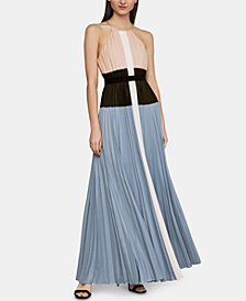 BCBGMAXAZRIA Constantine Pleated Colorblocked Dress