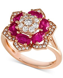 Certified Ruby (1-3/4 ct. t.w.) and Diamond (1/2 ct. t.w.) Ring in 14k Rose Gold