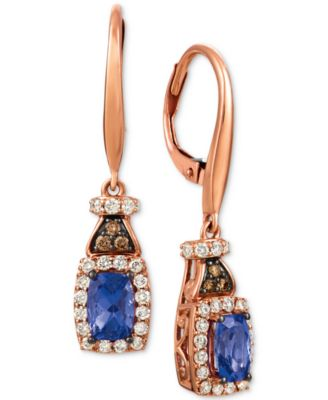 Blueberry Tanzanite (3/4 ct. t.w.), Nude Diamond (1/2 ct. t.w.) and Chocolate Diamond (1/10 ct. t.w.) Earrings in 14k Rose Gold
