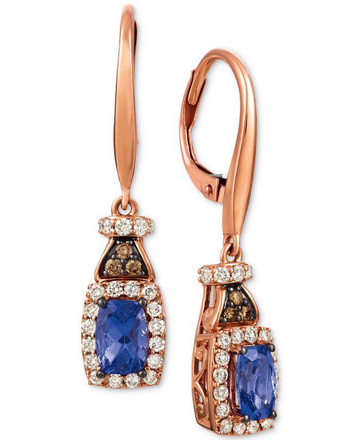 Le Vian - Blueberry Tanzanite (3/4 ct. t.w.), Nude Diamond (1/2 ct. t.w.) and Chocolate Diamond (1/10 ct. t.w.) Earrings in 14k Rose Gold