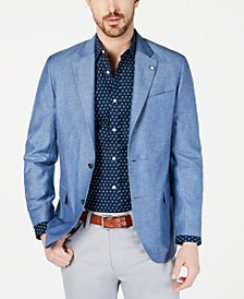Men's Modern-Fit Medium Blue Solid Sport Coat