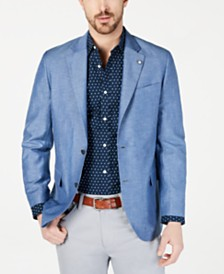Nautica Men's Modern-Fit Medium Blue Solid Sport Coat