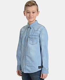 Big Boys Iconic Denim Cotton Shirt