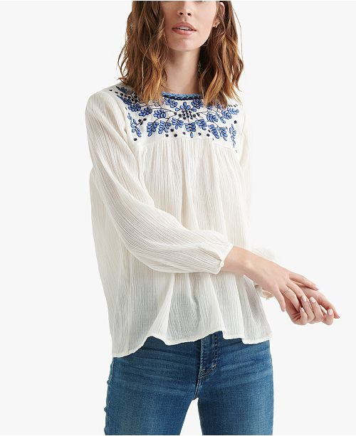 2500bc59702018 Lucky Brand Cotton Embroidered Peasant Top - Tops - Women - Macy's