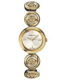 Women's Medusa Stud Icon Two-Tone Stainless Steel Bangle Bracelet Watch 28mm