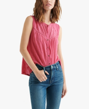 Lucky Brand Tops COTTON TEXTURED EYELET BLOUSE