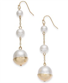 Alfani Gold-Tone Imitation Pearl Triple Drop Earrings, Created for Macy's
