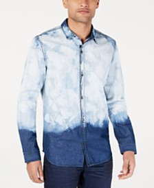 I.N.C. Men's Bleached Denim Shirt, Created for Macy's