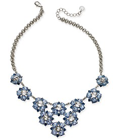 "Charter Club Silver-Tone Crystal Flower Frontal Necklace, 17"" + 2"" extender, Created for Macy's"
