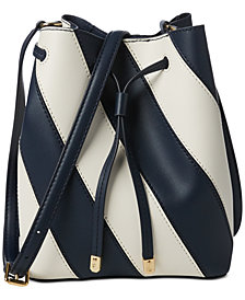 Lauren Ralph Lauren Dryden Mini Debby II Striped Leather Drawstring Bag