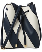 b516bf21cb51 Lauren Ralph Lauren Dryden Mini Debby II Striped Leather Drawstring Bag