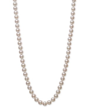 """Cultured Akoya Pearl (7-7-1/2mm) 18"""" Strand Necklace in 14k Gold"""