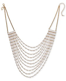 "Thalia Sodi Gold-Tone White Baguette Multi-Row Necklace, 17"" + 3"" extender, Created for Macy's"