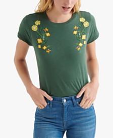 e1e7d8fb6373 Lucky Brand Cotton Floral-Embroidered Crewneck Top