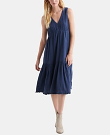 Lucky Brand Cotton Ruffle-Hem Sleeveless Dress